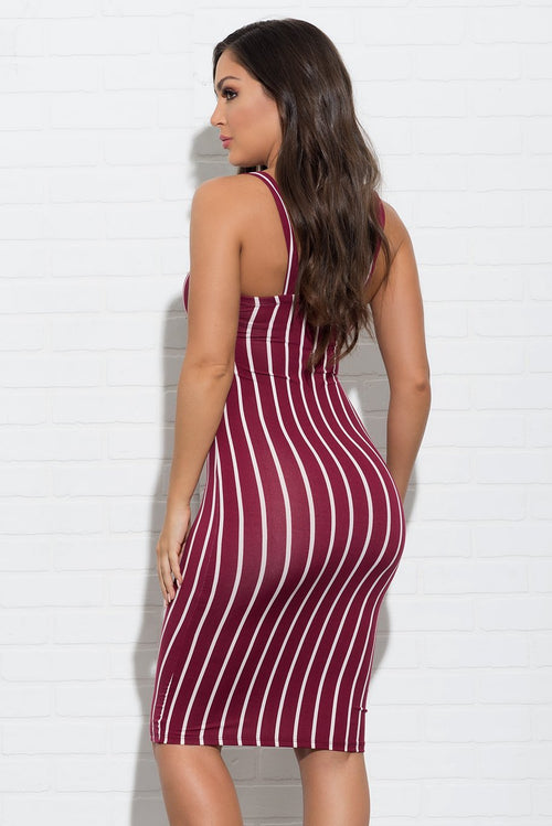 Bella Striped Dress - Burgundy
