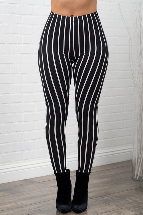 Caddie Striped Leggings - Black