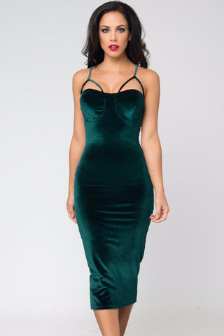 Lenna Green Velvet Dress - Fashion Effect Store  - 2