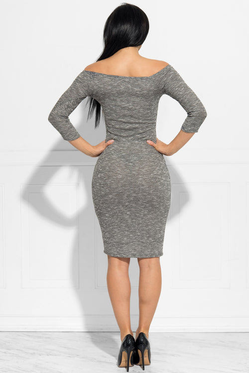 Tania Off Shoulder Grey Dress