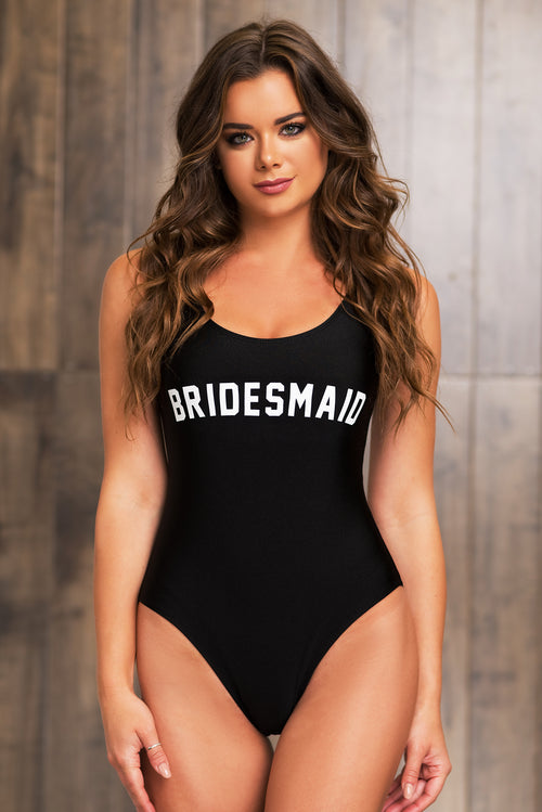 Bridesmaid One Piece Swimsuit - Black