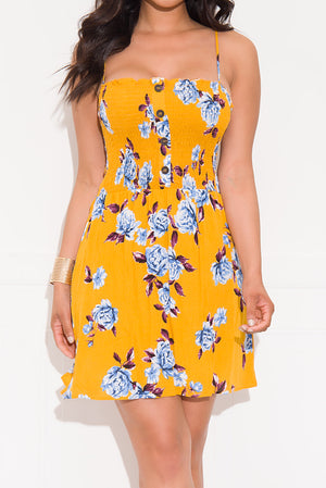 Going My Way Floral Dress Mustard