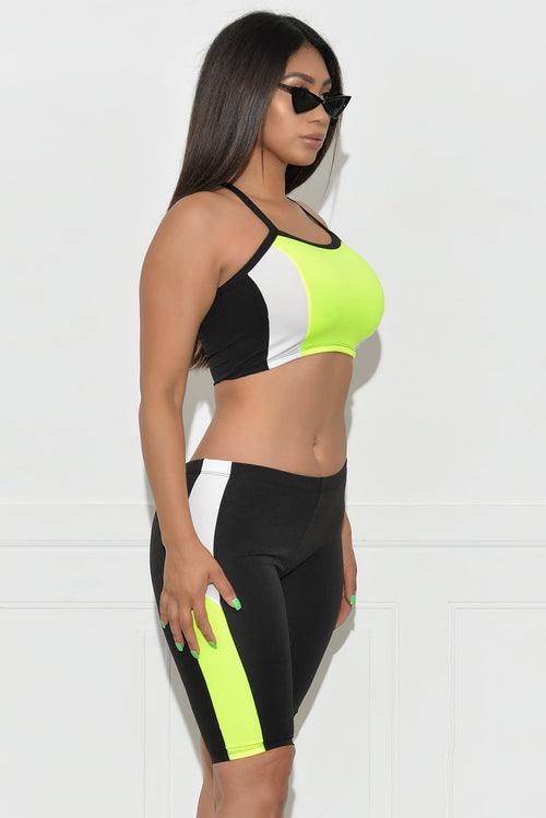 Kaelynn Set - Neon Green/Black