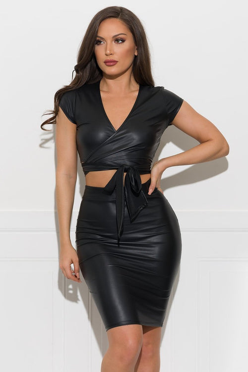 Ryder Two Piece Faux Leather Set