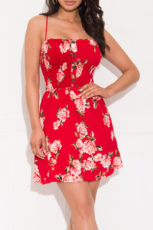 Going My Way Floral Dress Red