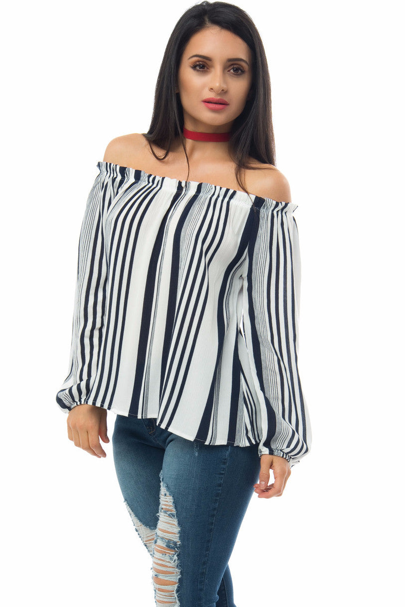 Jamie Off Shoulder Striped Top - Fashion Effect Store  - 3