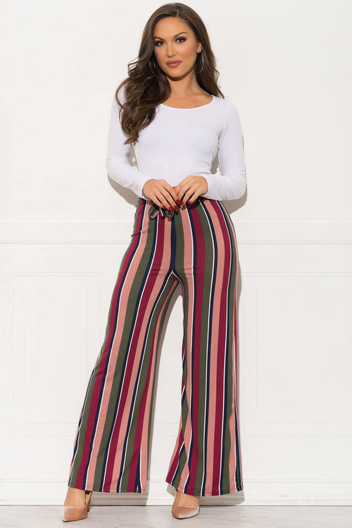Alianna Striped Pants - Dusty Rose/Olive