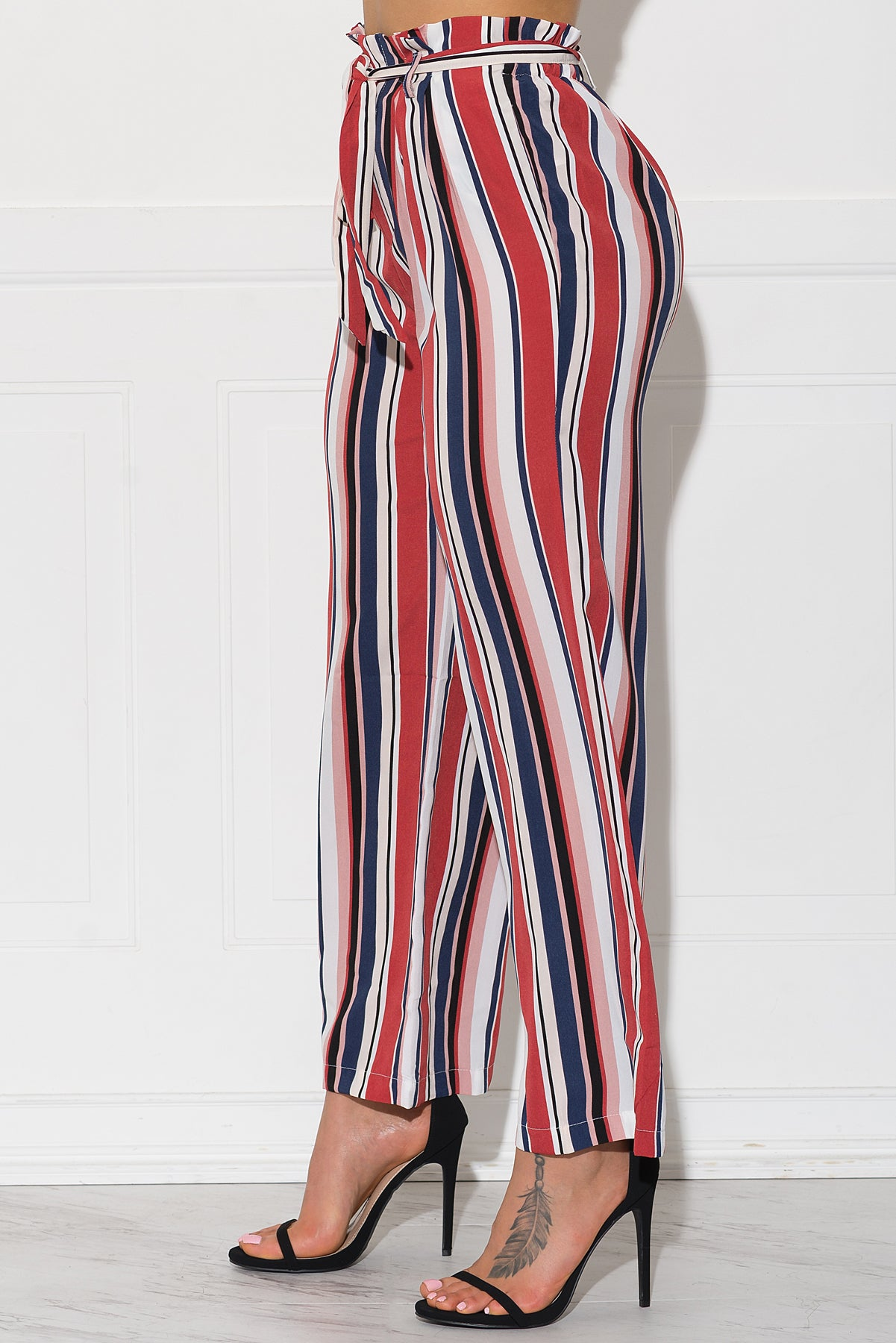Linette Striped Pants - Navy/Red