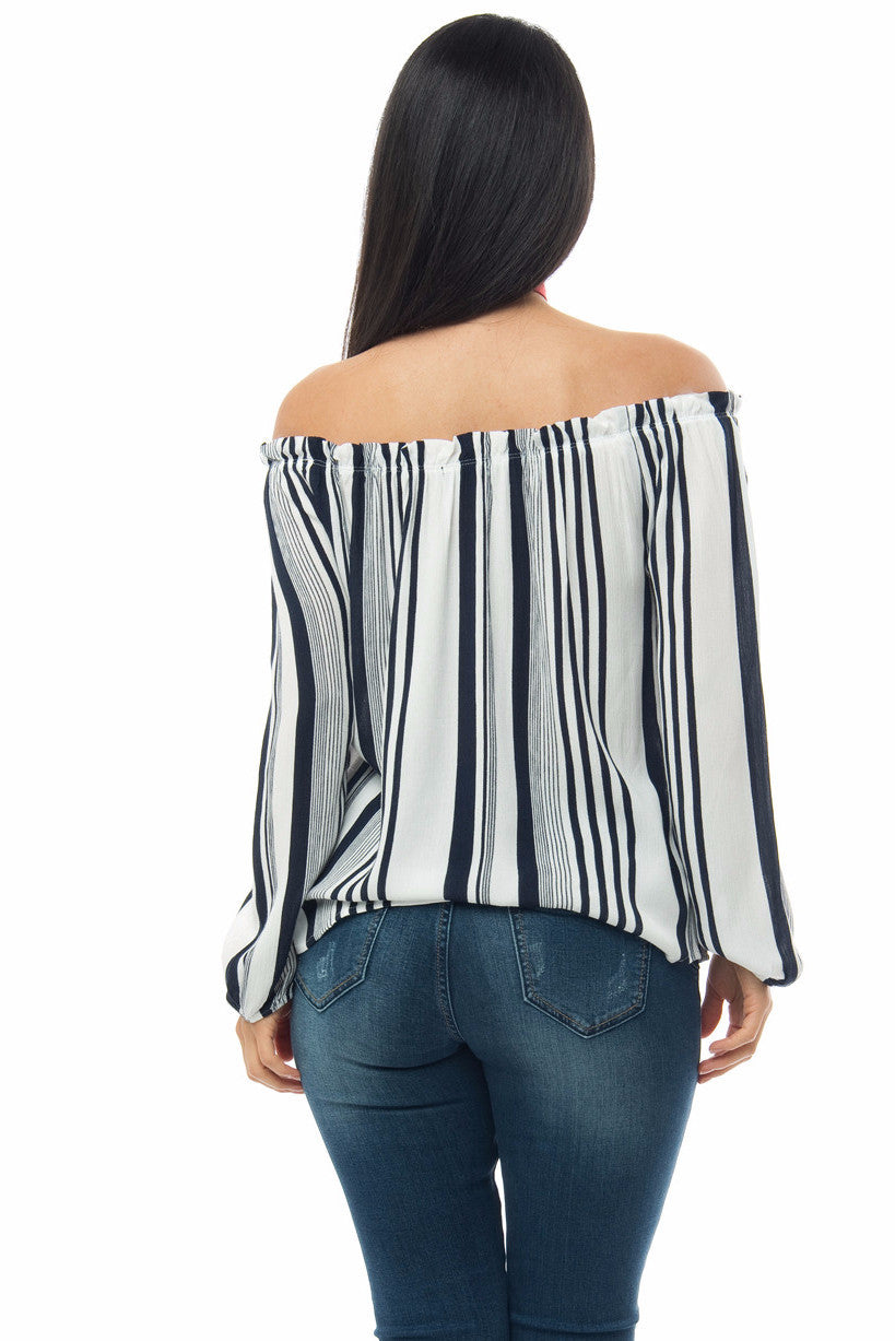Jamie Off Shoulder Striped Top - Fashion Effect Store  - 2