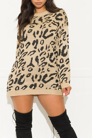 I Do It On My Own Sweater Dress Mocha
