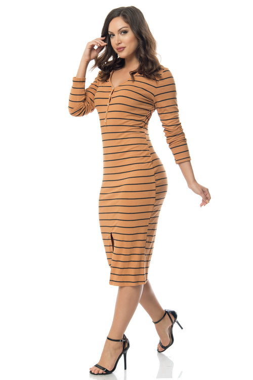 Joan Hooded Striped Dress Mustard - Fashion Effect Store  - 1
