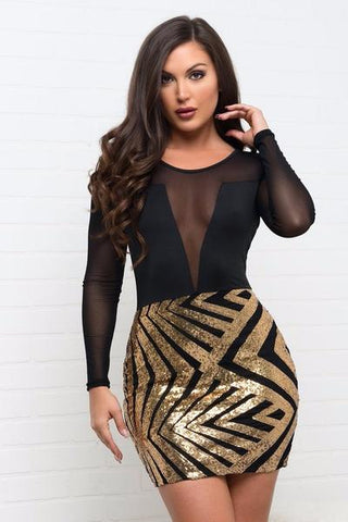 Helen Mini Dress - Gold