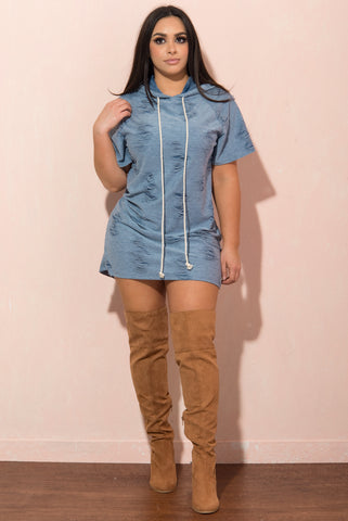 Kinsley Distressed Tshirt Dress - Fashion Effect Store  - 1