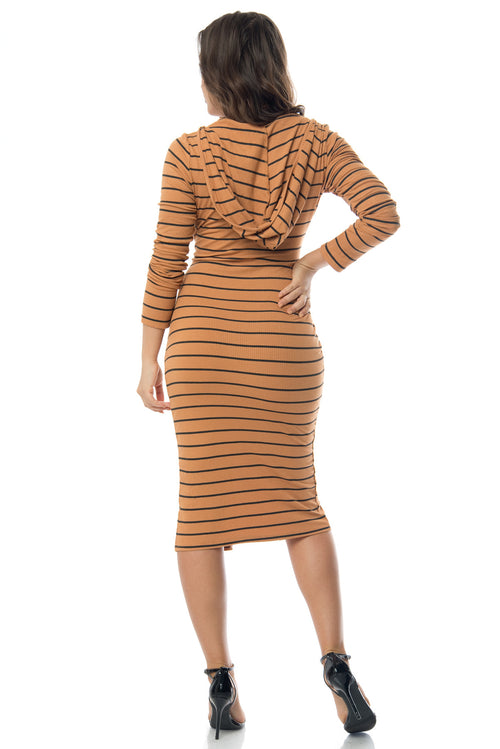 Joan Hooded Striped Dress Mustard - Fashion Effect Store  - 2