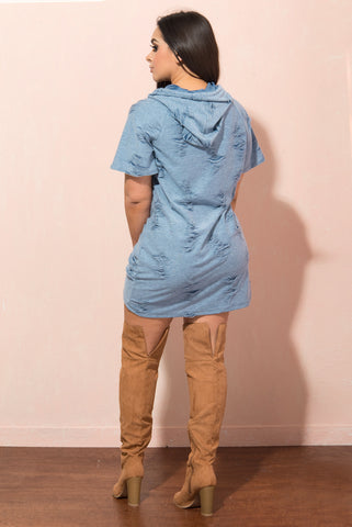 Kinsley Distressed Tshirt Dress - Fashion Effect Store  - 2