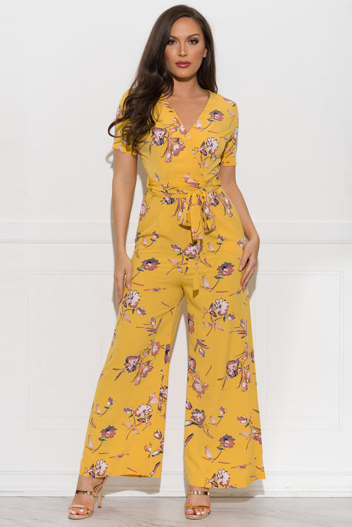 Johanna Floral Jumpsuit - Yellow