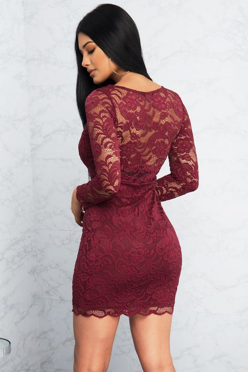 Francesca Lace Dress - Burgundy