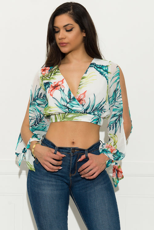 Emely Floral Crop Top - Off White