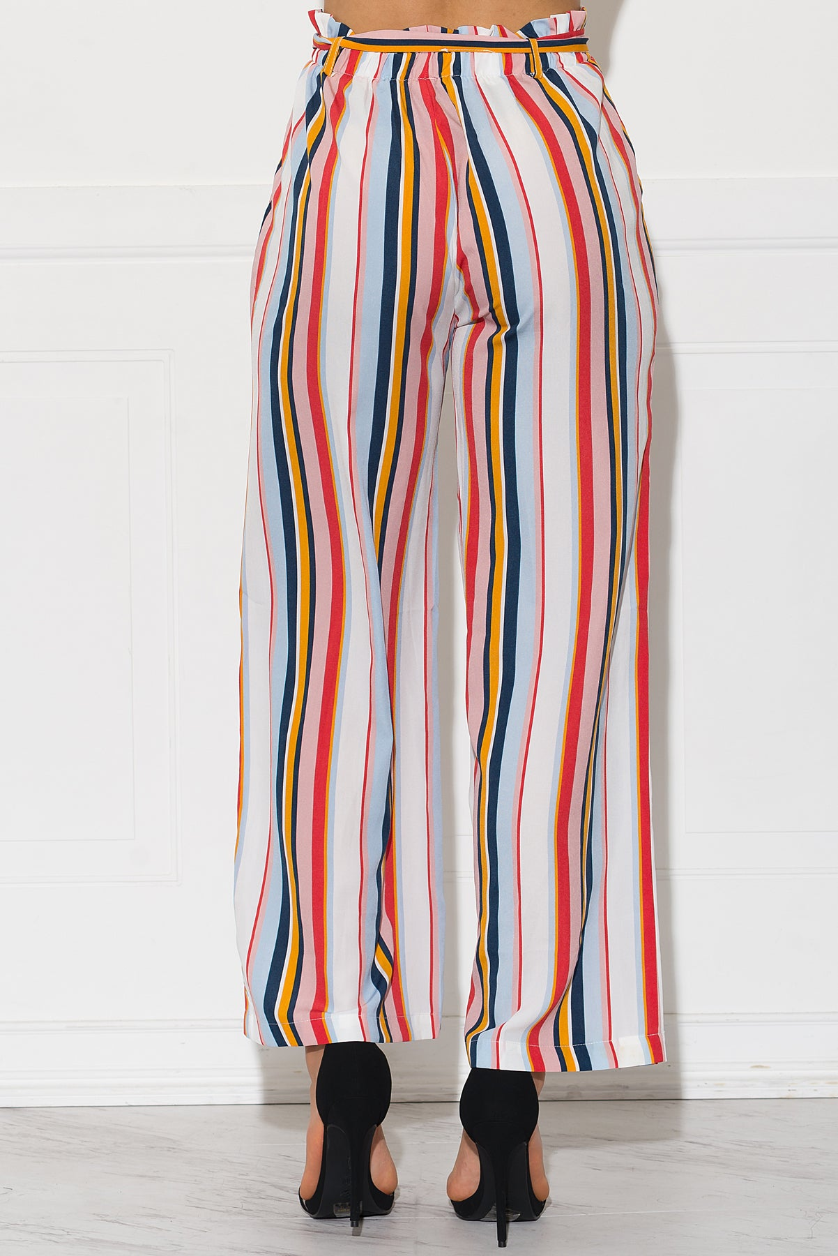 Linette Striped Pants - Light Blue/Mauve