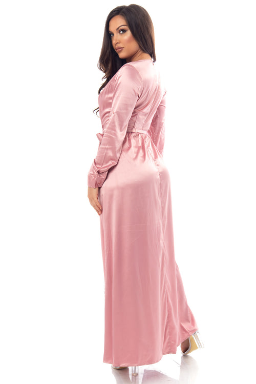 Tara Dusty Pink Satin Dress - Fashion Effect Store  - 2