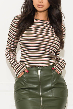 All About You Striped Top Olive