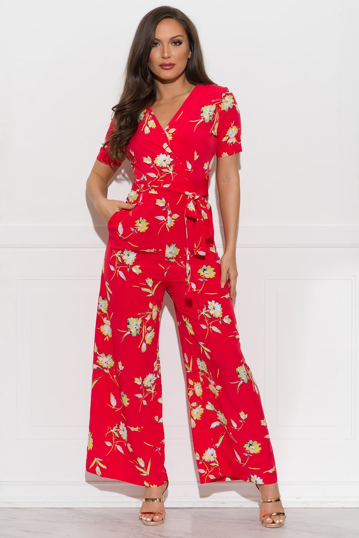 Johanna Floral Jumpsuit - Red