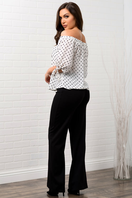 Yara Polka Dot Top - White