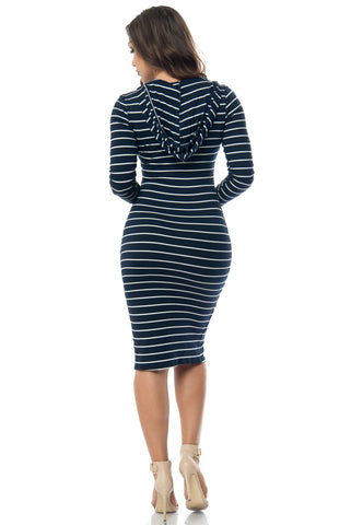 Joan Hooded Striped Dress Navy Blue - Fashion Effect Store  - 2