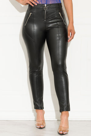 Odessa Faux Leather Pants Black