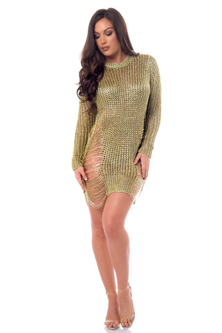 RESTOCK Jean Rose Gold Dress - Fashion Effect Store  - 1