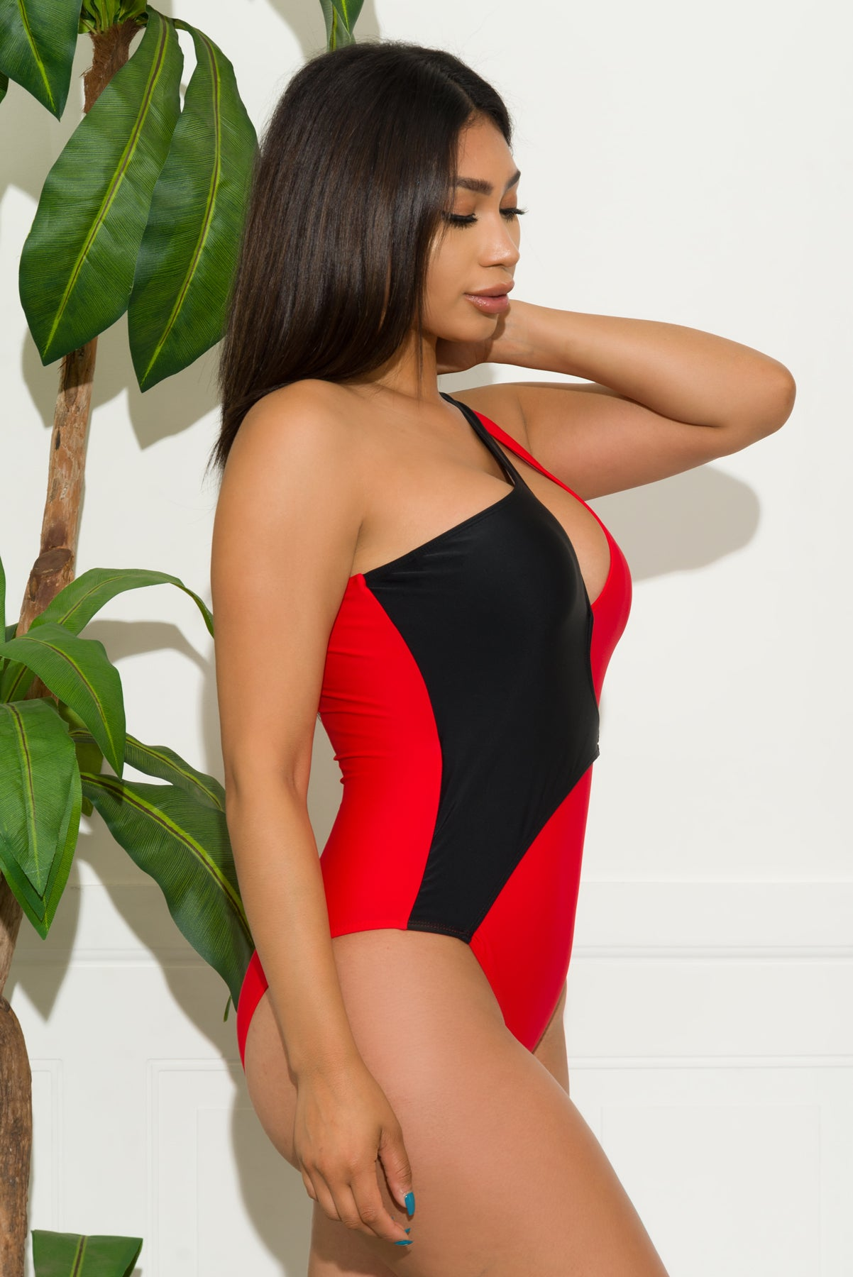 Starfish Paradise One Piece Swimsuit-Red/Black