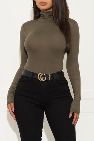 Spice It Up Long Sleeve Top Olive Green