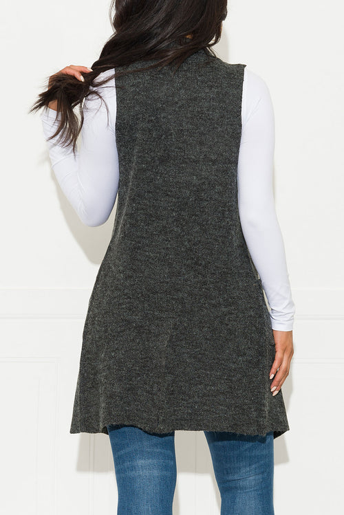 Handle It Cardigan Vest Charcoal Grey