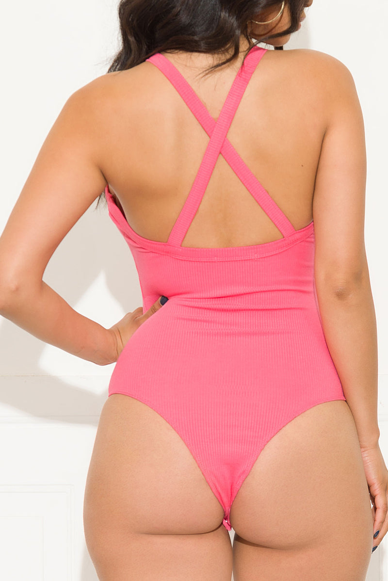 Not Waiting For You Bodysuit Pink
