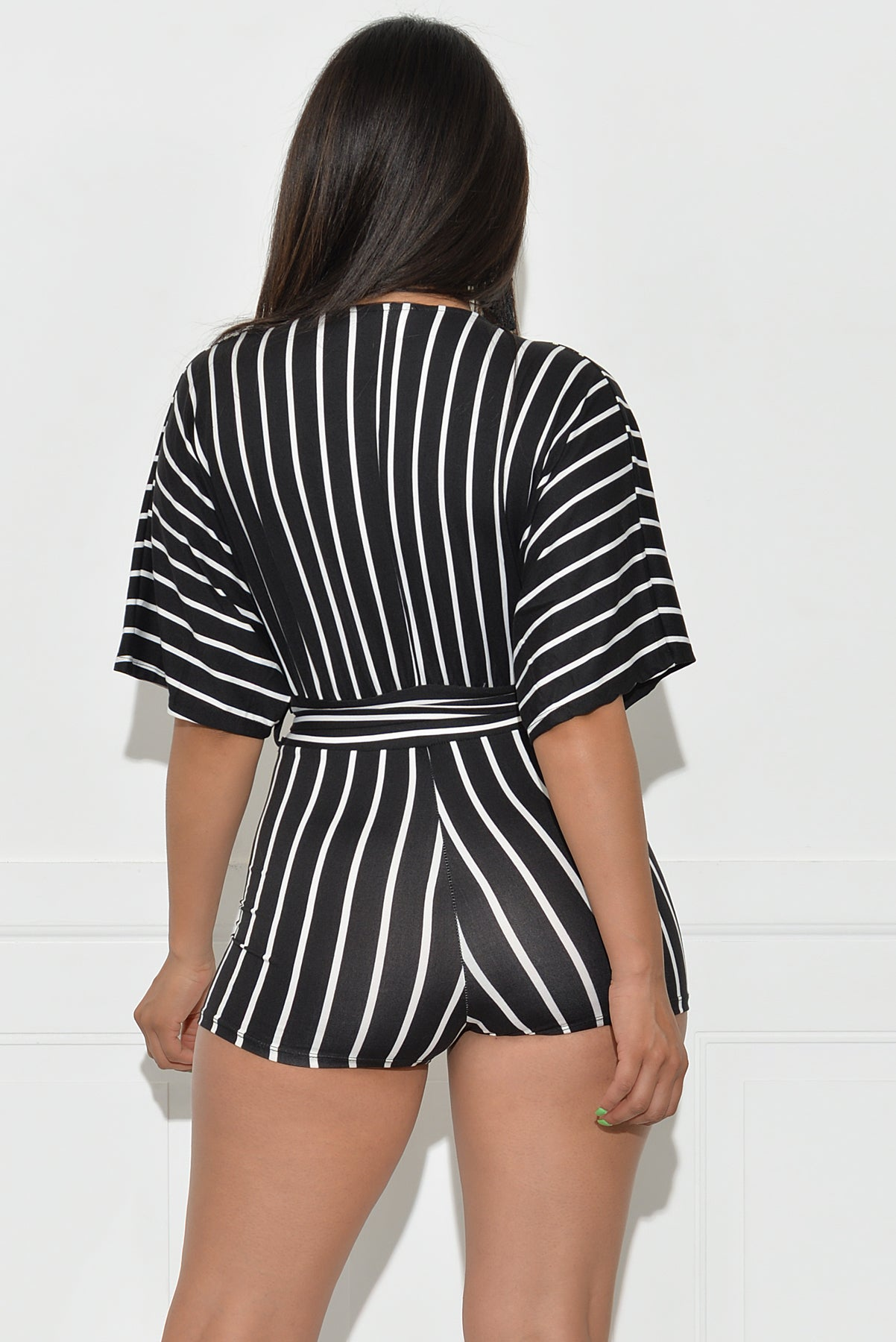 Ryann Striped Romper - Black/White