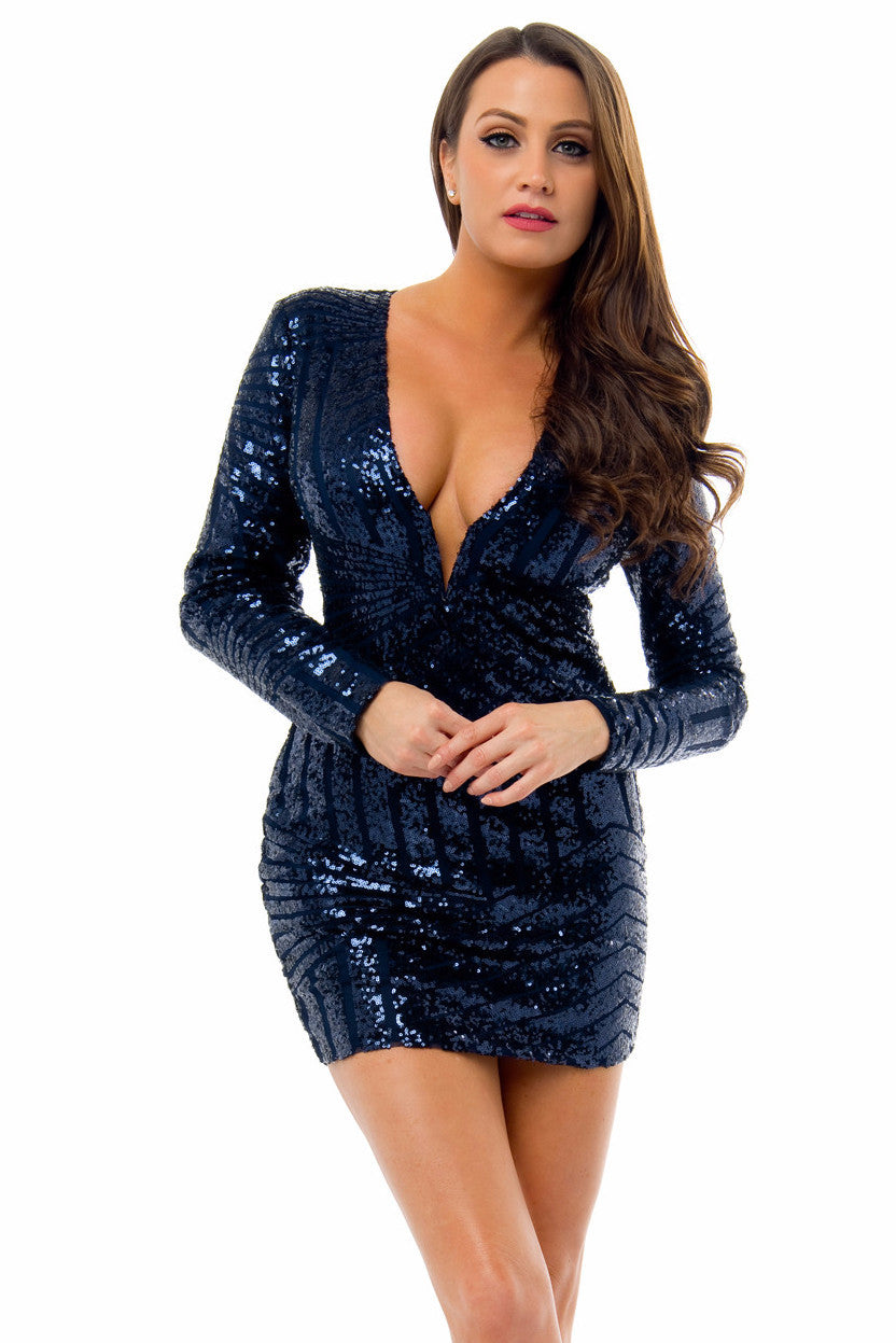 Mia Midnight Blue Sequin Dress - Fashion Effect Store  - 1