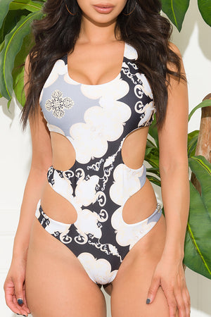 Moorea Beach  One Piece Swimsuit White And Gold