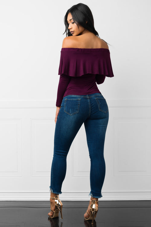 Carmine Off Shoulder Dark Purple Blouse