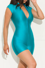 Right On Track Romper Turquoise
