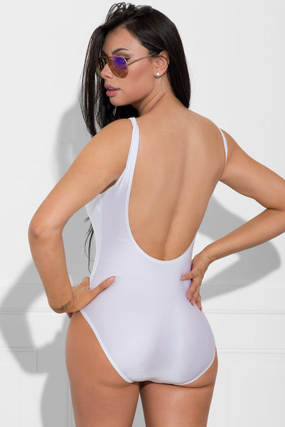Squad White One Piece Swimsuit