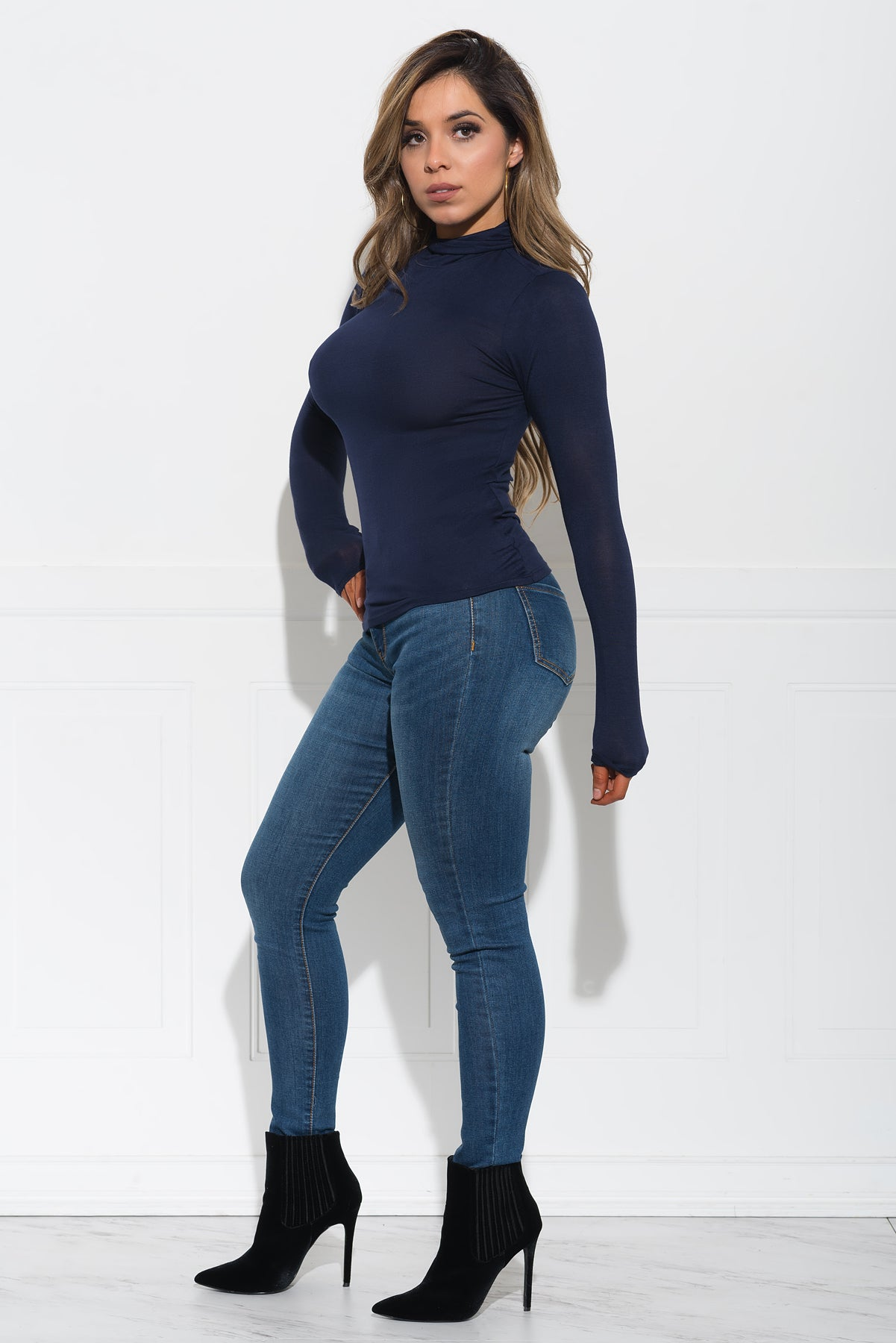 Maggie Turtle Neck Top -  Navy