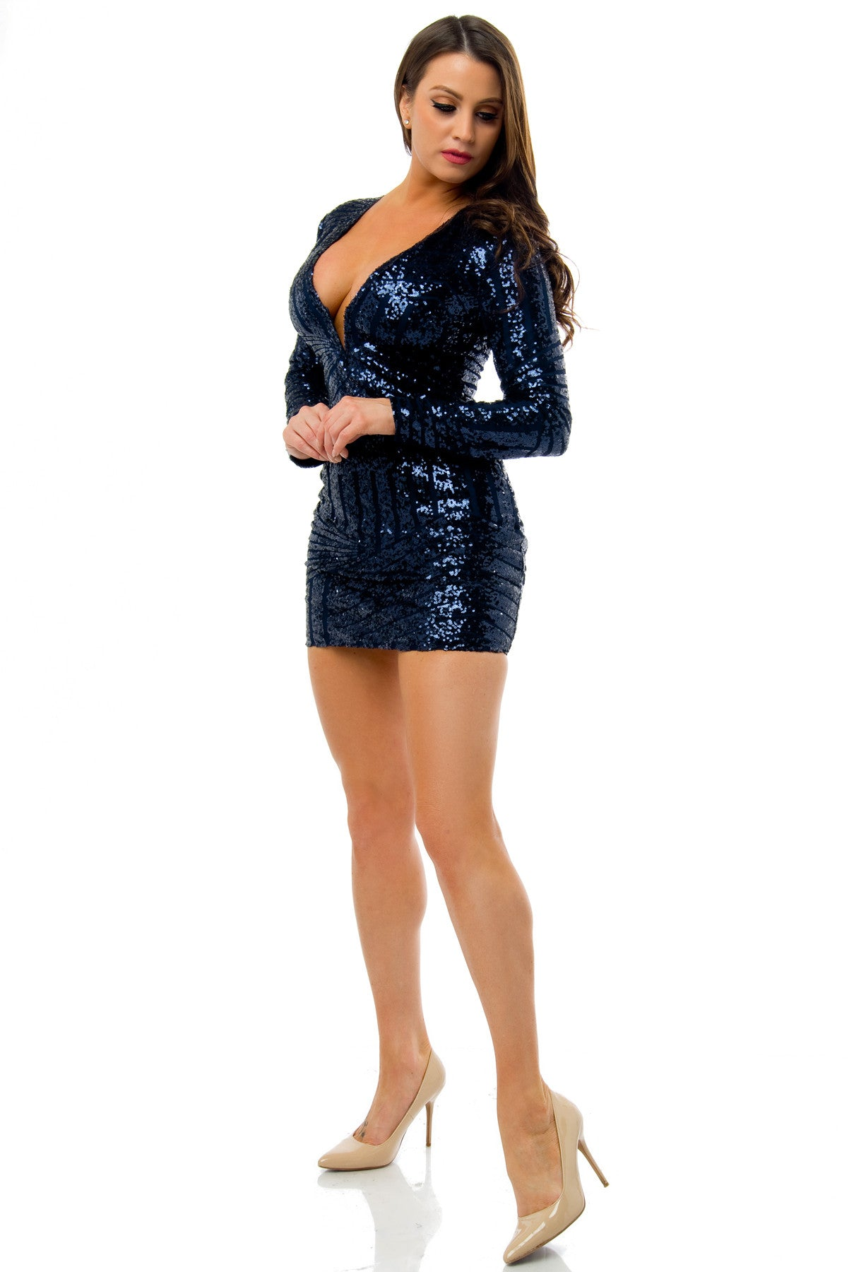 Mia Midnight Blue Sequin Dress - Fashion Effect Store  - 3