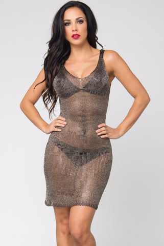 Lola Gray Metallic Sheer Dress - Fashion Effect Store  - 1