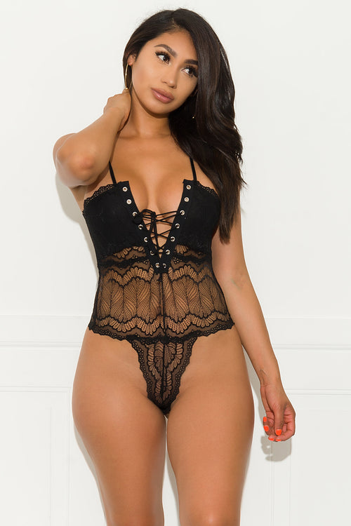 Blowing You Away Bodysuit - Black