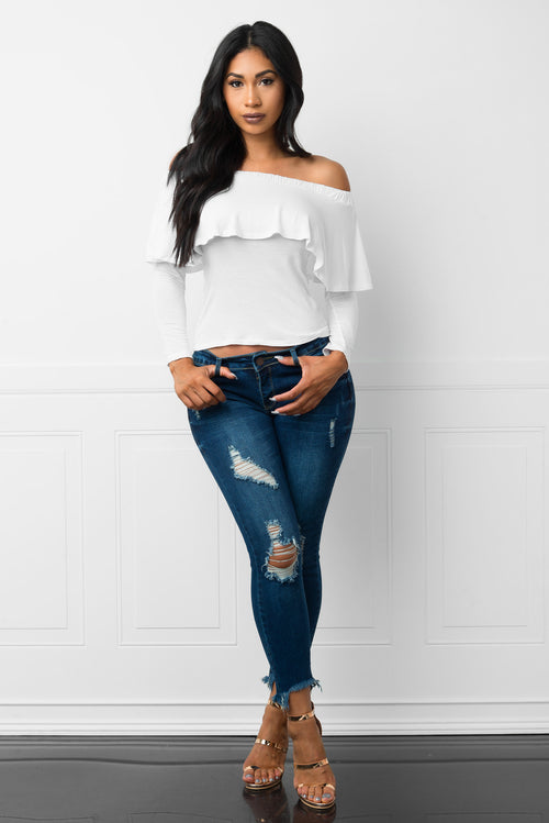 Carmine Off Shoulder White Blouse