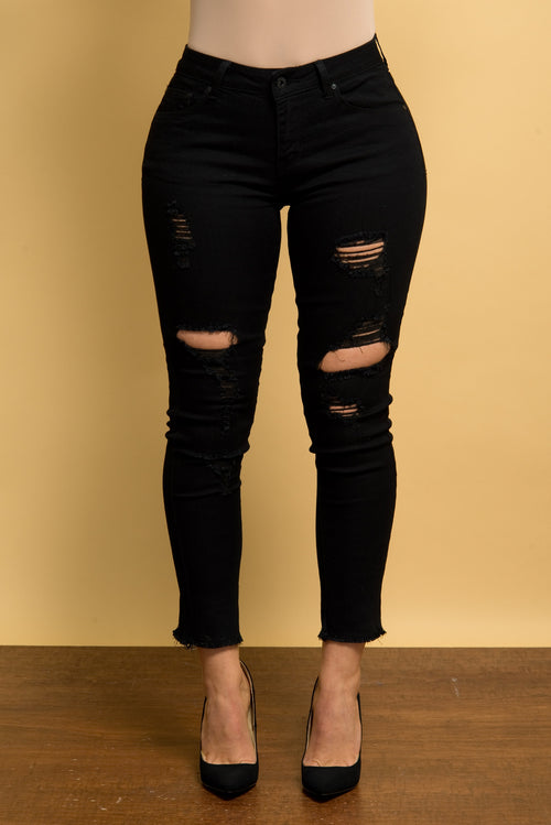 Wendy Distressed Jeans Black - Fashion Effect Store  - 1