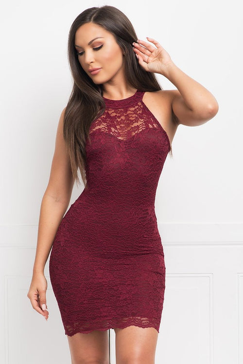 OLIVIA LACE MINI DRESS - BURGUNDY