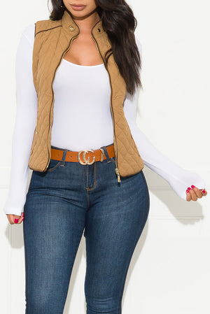 Wild Night Out Vest New Camel