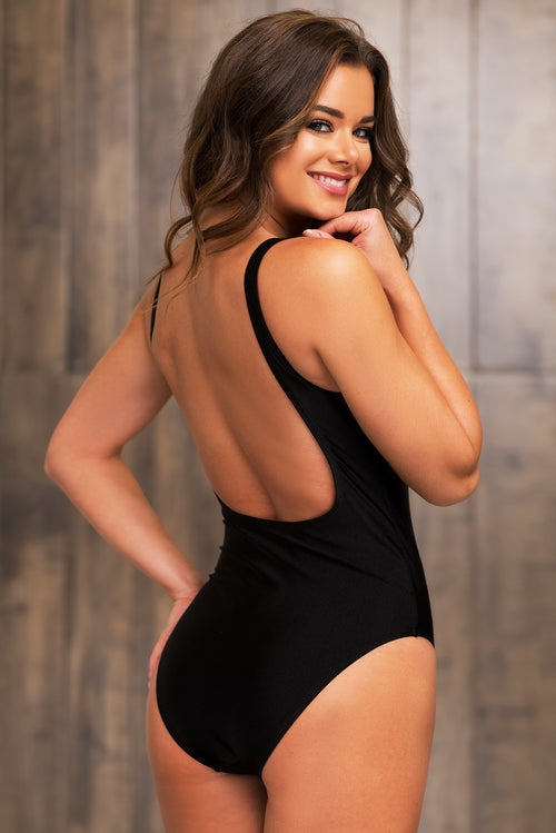 Thick Thighs Save Lives One Piece Swimsuit Black