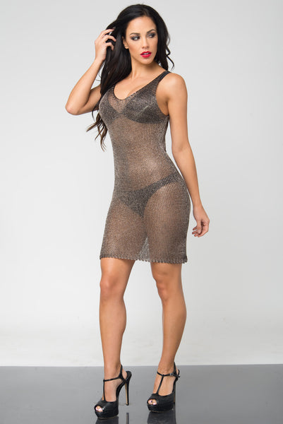 Lola Gray Metallic Sheer Dress - Fashion Effect Store  - 3